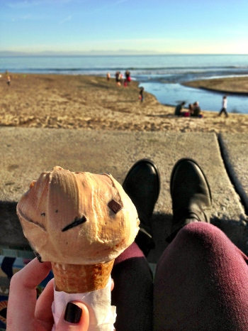 Ice cream at the beach.