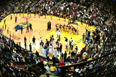Playing with a new fisheye app at the Warriors game.