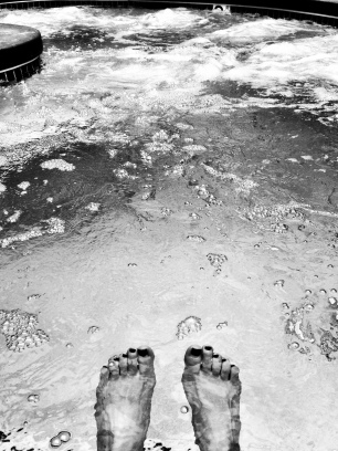 Black and white :: soaking in a hot tub.