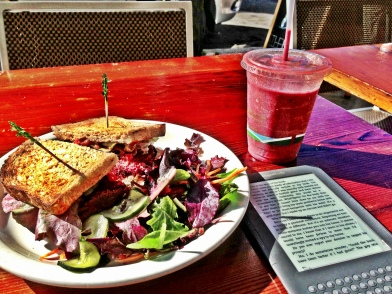 Lunch, smoothie & a read at Plant Cafe.